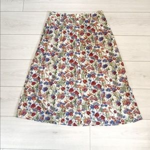 Vintage floral midi button down skirt